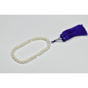 あこや 念珠 7.5mm UP 本真珠 パール 数珠 紫|osaka-jewelry
