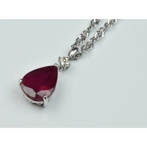 K18WG 大粒 ルビー 5.00ct ダイヤモンド ペンダントネックレス|osaka-jewelry