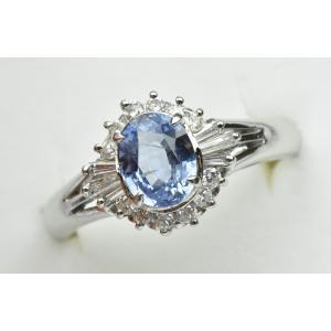 Pt850 プラチナ サファイア ダイヤモンドリング 16号 指輪|osaka-jewelry
