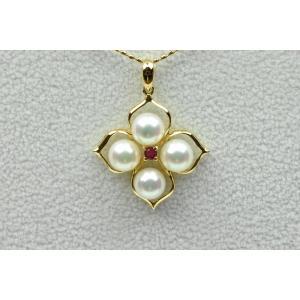 K18 綺麗な 真珠 パール ルビー ネックレス 箱 保|osaka-jewelry