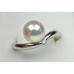 Pt900 綺麗なパール 真珠 8.8mm ダイヤモンドリング 11号|osaka-jewelry