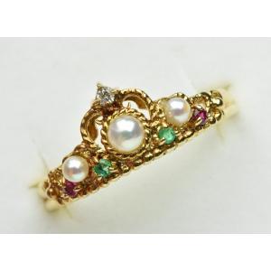 K18 ゴールド パール 真珠 マルチリング 12号 指輪|osaka-jewelry