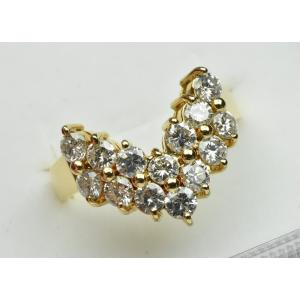 K18 ゴールド 合計 1.10ct V字 ダイヤモンドリング 9.5号|osaka-jewelry