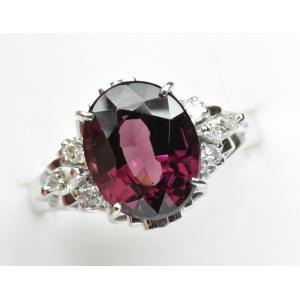 Pt900 ロードライトガーネット 3.62ct ダイヤモンドリング 11号|osaka-jewelry