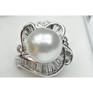 ゴージャス Pt900 南洋真珠 ダイヤモンドリング 9号 指輪|osaka-jewelry