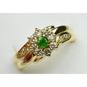 K18 デマントイドガーネット 0.15ct ダイヤモンドリング 8号|osaka-jewelry