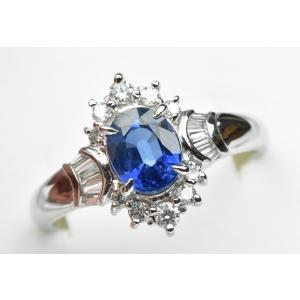 Pt900 サファイア 1.33ct ダイヤモンドリング 15号 指輪|osaka-jewelry