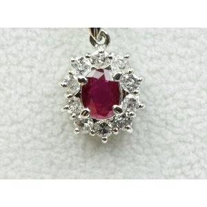 プラチナ ルビー 0.59ct ダイヤモンド ネックレス|osaka-jewelry