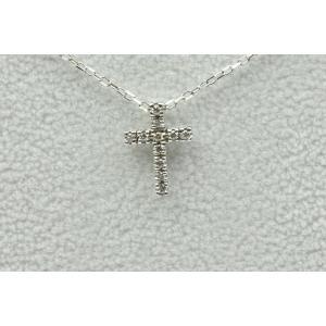 K18WG クロス 十字架 0.05ct ダイヤモンド ネックレス|osaka-jewelry