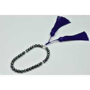 未使用 あこや真珠 染めグレーパール 念珠 8mm アップ|osaka-jewelry