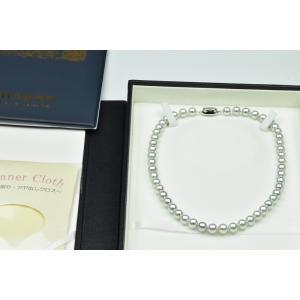 【鑑】オーロラ ブルーローズ 8mm-8.5mm パールネックレス|osaka-jewelry
