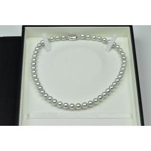 新品 オーロラ ブルーローズ 8mm-8.5mm パールネックレス|osaka-jewelry