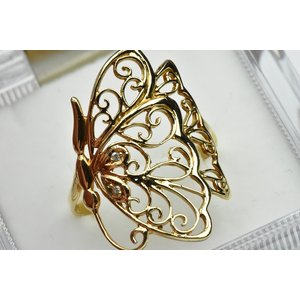 K18 バタフライ 蝶々 0.01ct ダイヤモンドリング 16.5号 osaka-jewelry