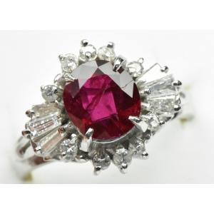 【鑑別】Pt850 ルビー 1.29ct ダイヤモンドリング 9号 指輪 osaka-jewelry