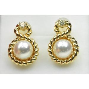 K18 綺麗な あこや真珠 パール ダイヤモンド ピアス osaka-jewelry