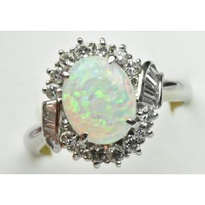 【鑑別】Pt900 オパール 1.73ct ダイヤモンドリング 16号 指輪 osaka-jewelry