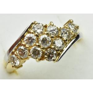 K18 Pt900 コンビ 合計1.0ct ダイヤモンドリング 13号 osaka-jewelry