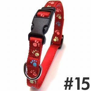 犬の首輪 岡野製作所 蓄光フットカラー #15 小型犬用 レッド