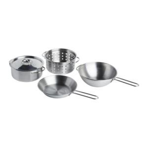 IKEA DUKTIG おままごと用「調理器具4点セット」 ステンレスカラー イケア お鍋/フライパ...