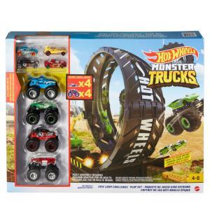 Hot Wheels【MONSTER TRUCKS】大きなループチャレンジ モンスタートラック4台&...