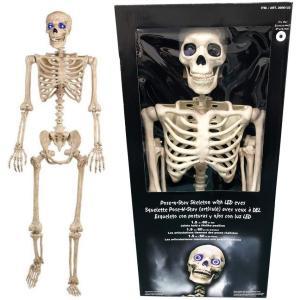 ハロウィン スカル/がいこつ人形 身長152cm LEDライトで目が光る ドクロ/ガイコツ/スケルト...