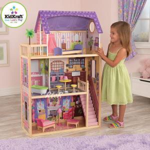 KIDKRAFT 木製ドールハウスセット 3階立て「Kayla DOLLHOUSE」家具10点付き♪キッドクラフト/ケイラ