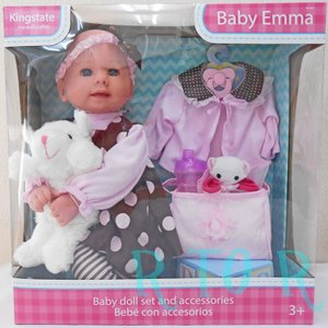 Kingstate【赤ちゃんのお人形♪アクセサリー付き】 Baby Emma/お世話セット/ベビー/ドール/赤ちゃんエマ/着せ替え人形
