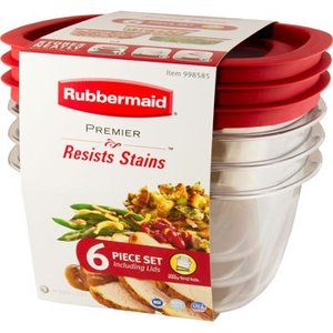 Rubbermaid ラバーメイド Resists Stains 3個(6ピース)セット 箱なし/保存容器/コンテナ/タッパー/お弁当箱