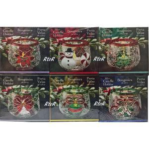 ガラス製 クリスマス ティーライトキャンドルホルダー 6個セット 6種類/スノーマン/クリスマスツリー/コストコ|osentaku