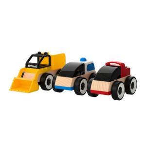 IKEA LILLABO 木製乗り物 3種類セット(自動車・ホイールローダー) 車のおもちゃ/ミニカー/はたらくくるま