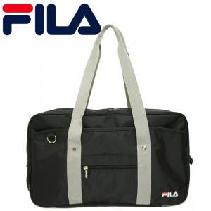 FILA ナイロン スクールバッグ ブラック/グレー  通学バッグ フィラ サブバッグ 学生 体操服入れ 中学 高校 レディース メンズ