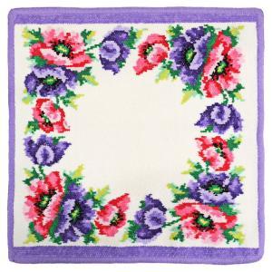 [メール便送料無料]フェイラー タオルハンカチ モーンポピーズ Mohn weiss(Poppies) 052 Purple パープル[30×30](TKD)(TN323-3)|osharecafe