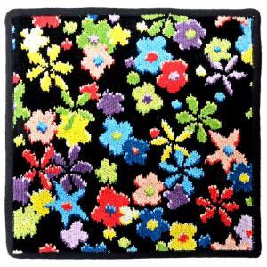 [メール便対応商品]フェイラー タオルハンカチ レインボーブロッサム  RAINBOW BLOSSOM-10 ブラック [虹の花] (wn1102)|osharecafe