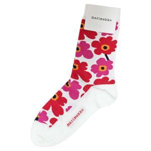 [メール便送料無料]マリメッコ ソックス 039859 #013 ホワイト×レッド 37-39(23.5-24.5)marimekko socks (wn0125) osharecafe