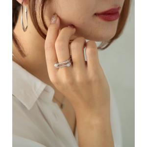 リング 指輪 アクセサリー 重ね付け風 二連 レディース パール ガラス  オケージョン 結婚式 シ...