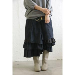 スカート ロングスカート デニム デザイン kOhAKUデザインデニムスカート 【メール便不可】