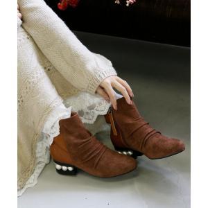 ショートブーツ レディース 靴 パール ヒール スエード レトロ  異素材×パールヒールショートブーツ※返品交換不可※【メール便不可】|オシャレウォーカー