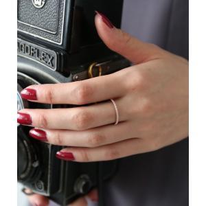 レディース アクセサリー リング 指輪 シンプル 重ねづけ キュービックジルコニア シルバー ピンク...