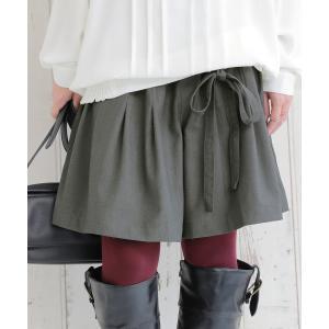 ハーフパンツ キュロット ボトムス シャーリング リボン スカンツ スカーチョ スーツ生地ハーフパンツ【メール便不可】