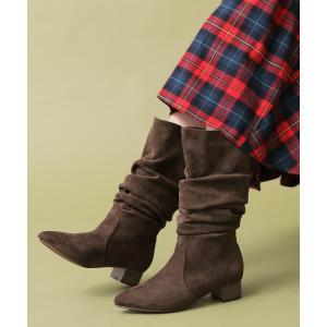 ミドルブーツ レディース 靴 ショートブーツ ブーティ チャンキーヒール ノアール  n'Orスウェードタッチ2wayブーツ 【メール便不可】