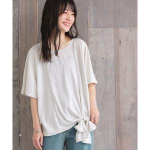 トップス レディース カットソー Tシャツ 無地 リボン カラー 半袖 夏 n'Or裾リボンデザインカットソー ※メール便可※【10】