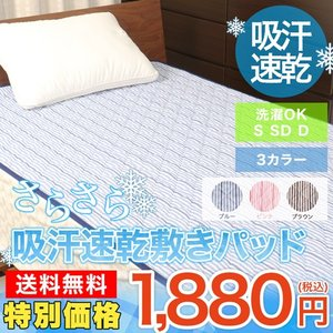 吸汗速乾 パイル 敷きパッド ストライプ柄 シングル セミダブル ダブル 洗濯出来る 100x200cmの写真