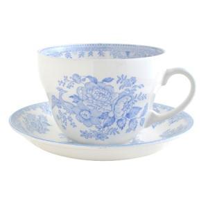 イギリス食器バーレイ社 ブルーアジアティックフェザンツ ブレックファースト カップ&ソーサー 300ml|ostuni