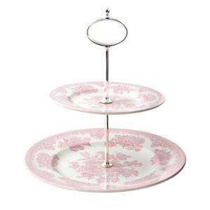 イギリス食器バーレイ社 ピンクアジアティックフェザンツ ティットビット(2段ケーキスタンド)|ostuni