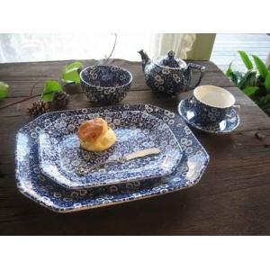 英国食器バーレイ社 ブルーキャリコ スクエアディッシュ小 25cm |ostuni