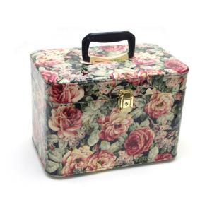 メイクボックス レローズ バラ柄 33cm 横型 鏡付き コスメボックス 大容量 日本製 バニティケース 化粧ケース トレンケース ローズ 薔薇雑貨のおしゃれ姫|osyarehime