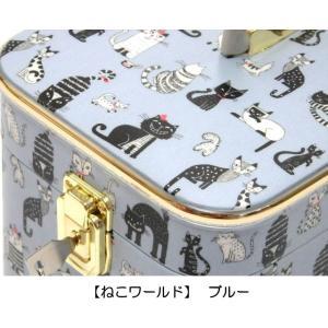 メイクボックス トレンチケース バニティケース 化粧収納 小物入れ アクセサリー 鍵付き 日本製 猫グッズ 猫雑貨 猫 グッズ 雑貨 ねこ ネコ 猫柄 小物|osyarehime|09
