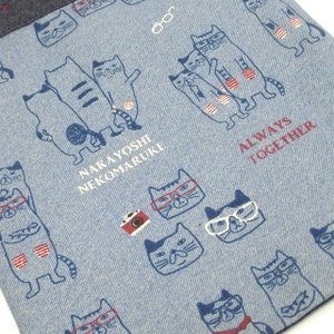 手さげバッグ ネコまるけ 猫めがね トートバッグ マチなし ネコ柄 ミニバッグ 布バッグ サブバッグ 19-3420 KUSUGURU 猫雑貨 猫グッズ かわいい|osyarehime|05