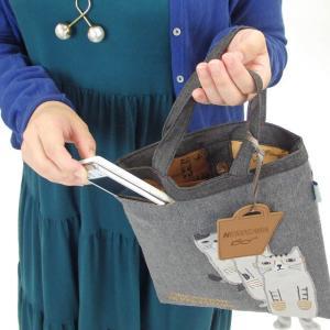 手さげバッグ ネコまるけ 猫めがね トートバッグ マチなし ネコ柄 ミニバッグ 布バッグ サブバッグ 19-3420 KUSUGURU 猫雑貨 猫グッズ かわいい|osyarehime|08