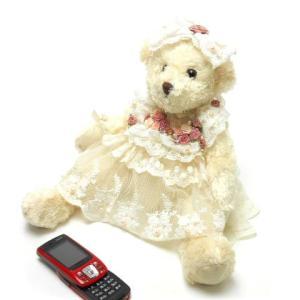 ぬいぐるみ ベア 白いレースのドレス パールやバラのコサージュ クマ プレゼント お誕生日 可愛い テディベア おしゃれ|osyarehime